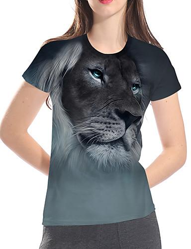 billige Dametopper-T-skjorte Dame - 3D / Dyr / Tegneserie, Trykt mønster Grunnleggende / overdrevet Løve Grå