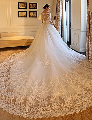 cheap Wedding Dresses-Ball Gown Off Shoulder Cathedral Train Lace / Tulle / Lace Over Satin 3/4 Length Sleeve Formal Illusion Sleeve Wedding Dresses with Appliques 2020