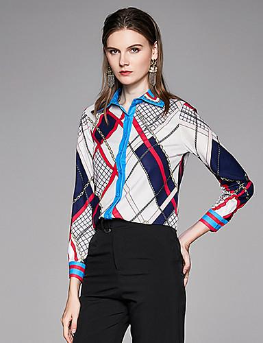 billige Skjorter til damer-Skjorte Dame - Geometrisk, Trykt mønster Vintage BLå & Hvit Hvit