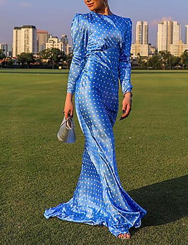 levne Maxi šaty-Dámské Elegantní Pouzdro Šaty - Puntíky, Volná záda Maxi