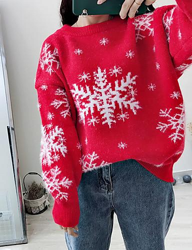 preiswerte ChristmasJumpers-Damen Weihnachten Geometrisch Langarm Pullover Pullover Jumper Rote / Beige / Grau Einheitsgröße