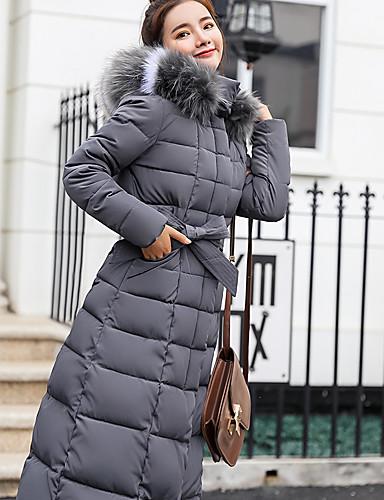 levne Dámské parky a paleta-Dámské Jednobarevné Dlouhý kabát, Polyester Černá / Armádní zelená / Rubínově červená M / L / XL