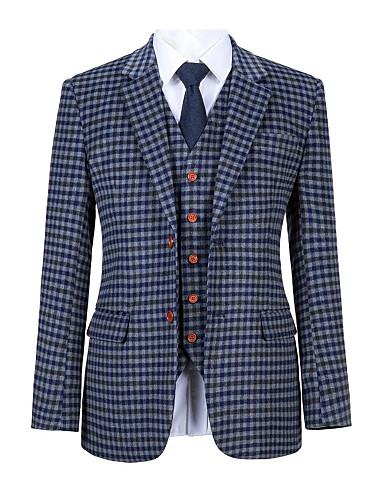 저렴한 남자의 맞춤 양복-블루 그레이 체크 트위드 울 맞춤 양복