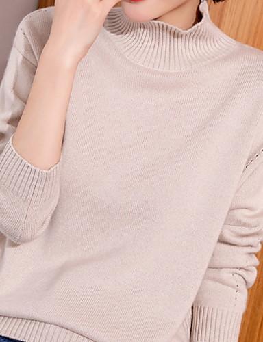 billige Dametopper-Dame Ensfarget Langermet Pullover Genserjumper, Rullekrage Kamel / Brun / Beige En Størrelse