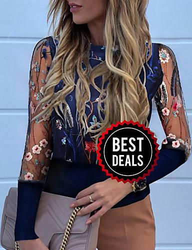 preiswerte Damenbekleidung-Damen Blumen T-shirt Marineblau