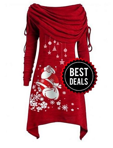 preiswerte Damenbekleidung-Damen Party Grundlegend A-Linie Kleid Geometrisch Asymmetrisch Schulterfrei