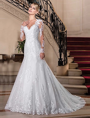 cheap Wedding Dresses-Mermaid / Trumpet V Neck Chapel Train Lace / Tulle / Lace Over Satin Long Sleeve Vintage See-Through / Illusion Sleeve Wedding Dresses with Beading 2020 / Bell Sleeve