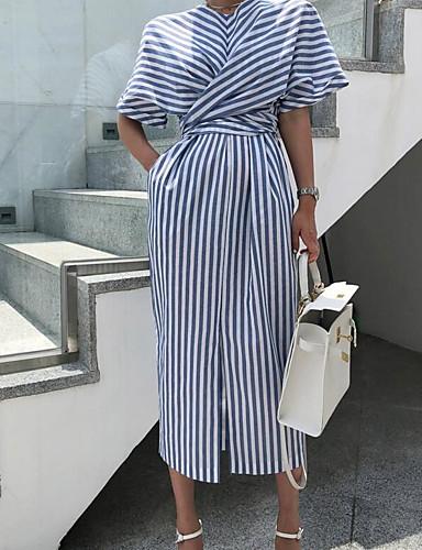 levne Maxi šaty-Dámské Základní Tričko Šaty - Proužky, Mašle Rozparek Tisk Maxi