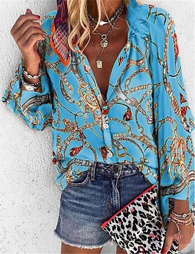 billige Dametopper-Løstsittende Skjortekrage Skjorte Dame - Tribal Lilla