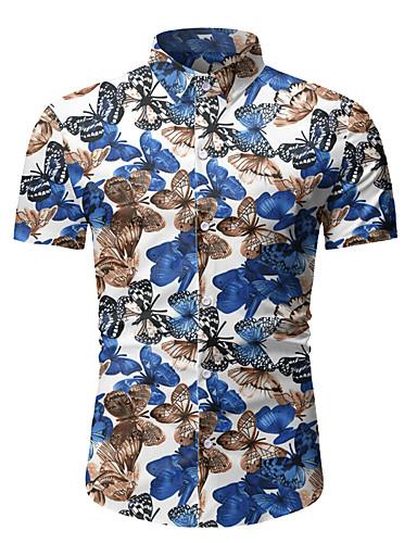 billige Herreklær-Skjorte Herre - Fargeblokk, Netting / Trykt mønster Svart og hvit Hvit