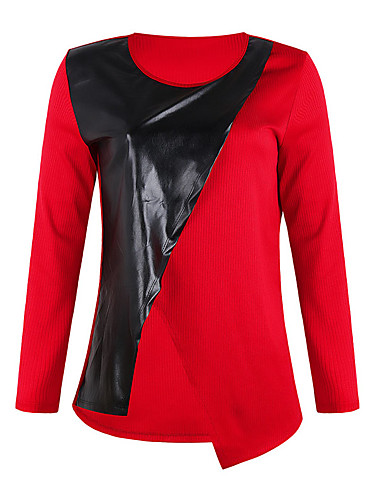 Women's Daily Weekend Street chic T-shirt - Color Block / Solid Colored Black & Red / Black & White, Patchwork White