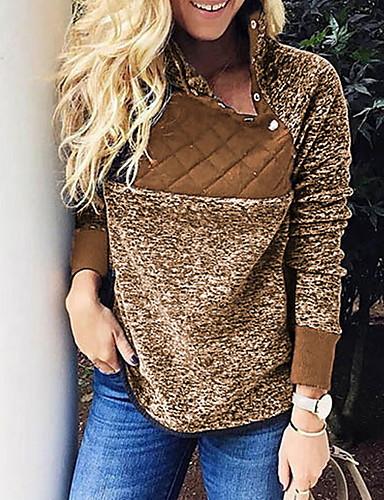 billige Dametopper-Dame Fritid Genser Leopard / Fargeblokk
