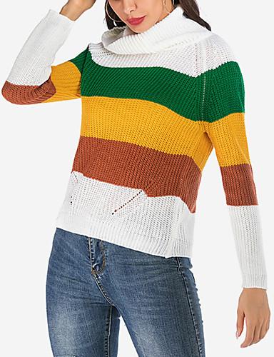 billige Dametopper-Dame Stripet / Fargeblokk Langermet Løstsittende Pullover Genserjumper, Rullekrage Høst / Vinter Bomull Regnbue S / M / L