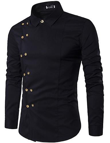 preiswerte Coole Herrenhemden-Herrn Solide Hemd Schwarz