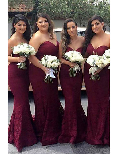 cheap Bridesmaid Dresses-Mermaid / Trumpet Sweetheart Neckline Court Train Lace Bridesmaid Dress with Sash / Ribbon