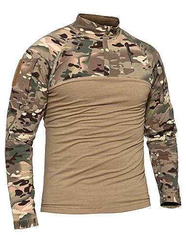 preiswerte Jagd T-Shirts & Hemden-Herrn Jagd-T-Shirt Langarm Außen Frühling Herbst Sonnenschutz Atmungsaktiv Komfortabel Schützend camuflaje Terylen Schwarz Khaki / Mikro-elastisch