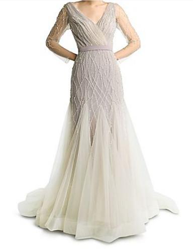 preiswerte Weiße Partykleider-A-Linie V-Ausschnitt Pinsel Schleppe Tüll Formeller Abend Kleid mit Mehrlagiger Rock durch LAN TING Express
