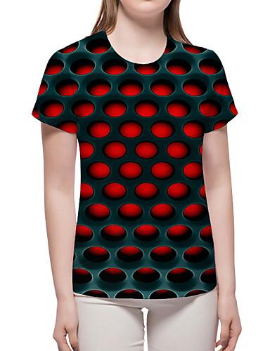 billige T-skjorter til damer-T-skjorte Dame - Geometrisk / 3D / Grafisk, Trykt mønster Grunnleggende / overdrevet Magiske kuber Rød