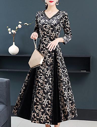 levne Šaty velkých velikostí-Dámské Vintage Elegantní Pouzdro Swing Šaty - Květinový, Tisk Midi