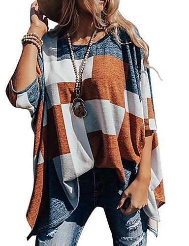 billige T-skjorter til damer-T-skjorte Dame - Fargeblokk Brun