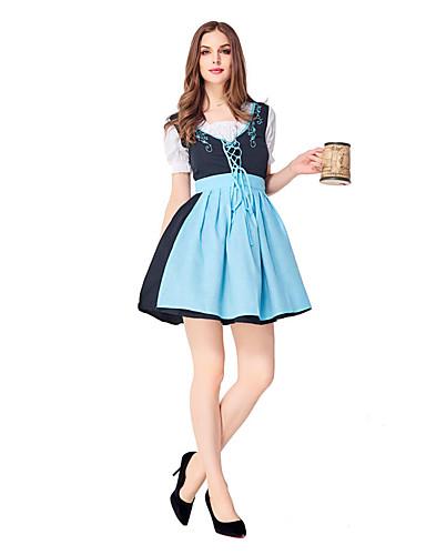 preiswerte Halloween- und Faschingskostüme-Oktoberfest / Bier Kleid Erwachsene Damen Kleider Bar Oktoberfest Fest / Feiertage Elasthan Polyester Purpur / Blau Damen Karneval Kostüme Stickerei
