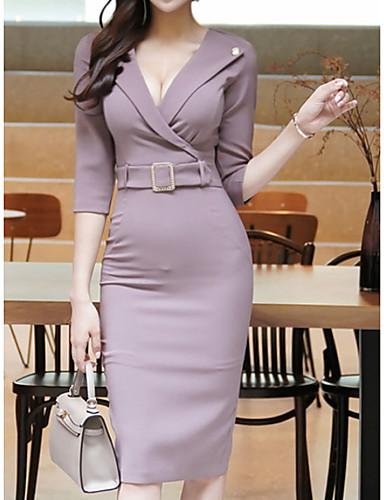 levne Pracovní šaty-Dámské Elegantní Pouzdro Šaty - Jednobarevné Midi