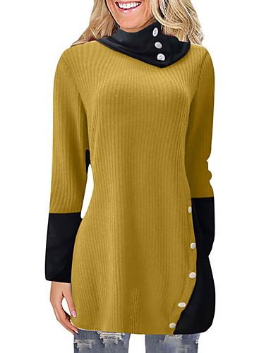 preiswerte Modische Pullover-Damen Einfarbig Langarm Pullover Pullover Jumper, Rollkragen Wein / Purpur / Gelb S / M / L