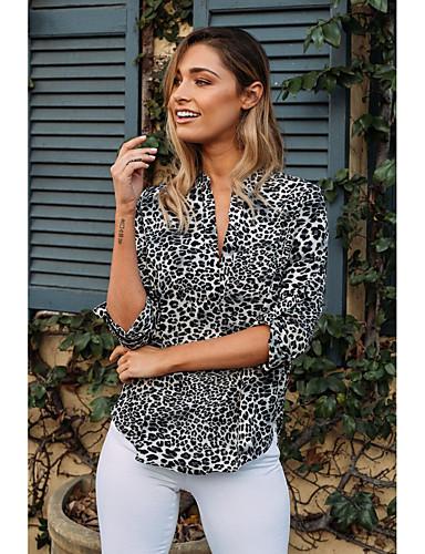 billige Skjorter til damer-Skjorte Dame - Leopard, Trykt mønster Grunnleggende Lyseblå