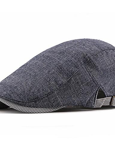 cheap Men's Hats-Men's Basic Polyester Beret Hat-Solid Colored Fall Black Navy Blue Beige