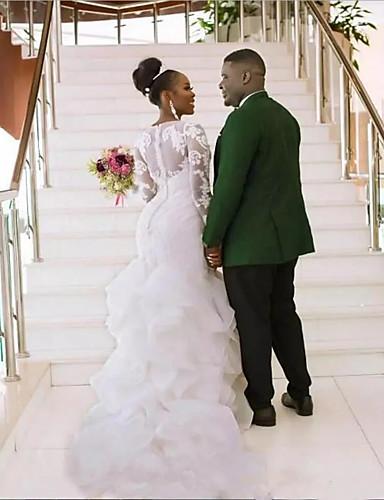 Sellő fazon Ékszer Kápolna uszály Csipke / Organza / Tüll Made-to-measure esküvői ruhák val vel Fodros által LAN TING Express