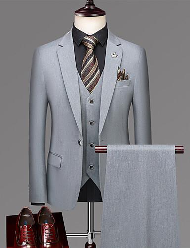 levne Pánské blejzry a saka-Pánské Obleky, Jednobarevné Klasické klopy Polyester Černá / Světle šedá / Vodní modrá