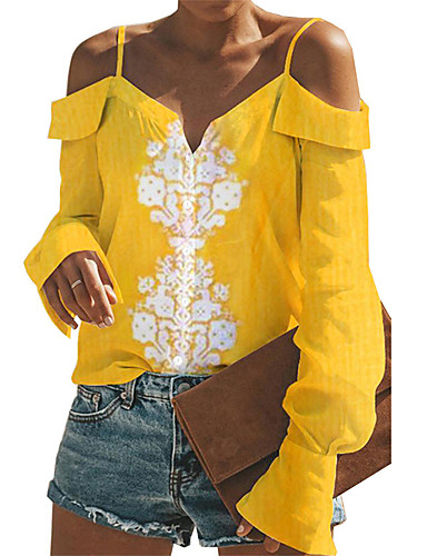 billige Dametopper-T-skjorte Dame - Geometrisk Lyseblå