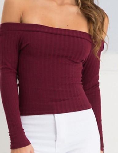 billige Dametopper-Dame Ensfarget Langermet Pullover Genserjumper, Løse skuldre Svart / Vin / Hvit S / M / L