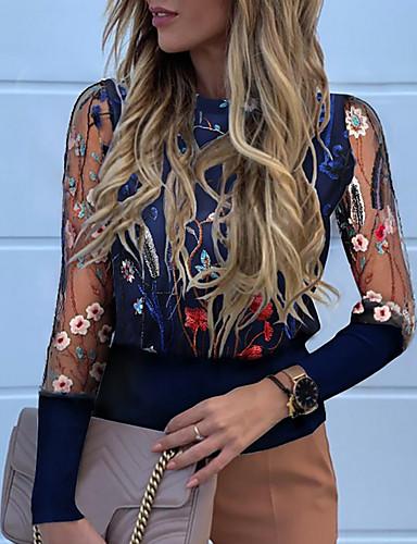 billige Dametopper-T-skjorte Dame - Blomstret Navyblå