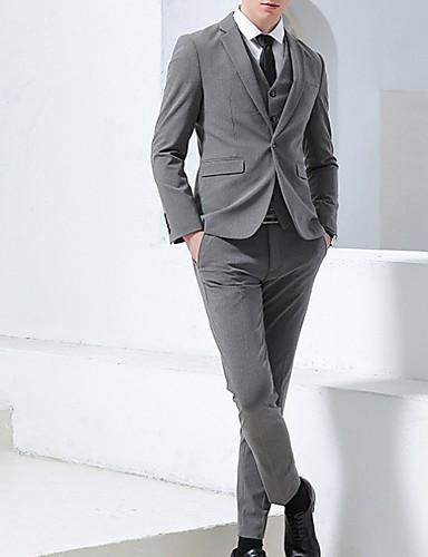 levne Pánské blejzry a saka-Pánské Obleky, Proužky Klasické klopy Polyester Černá / Světle šedá / Tmavě šedá