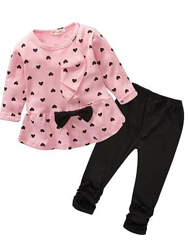 preiswerte Lieben Ihre Kinder Katzen?-Baby Mädchen Grundlegend Alltag Schleife Druck Langarm Lang Baumwolle Kleidungs Set Purpur