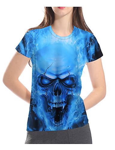 billige Topper til damer-T-skjorte Dame - 3D / Grafisk / Hodeskaller, Trykt mønster Grunnleggende / overdrevet Blå