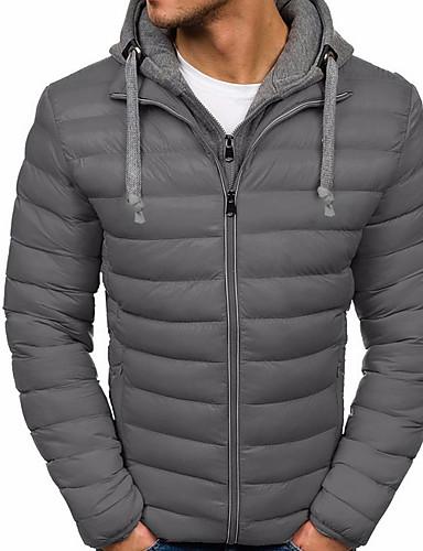 levne Pánské kabáty a parky-Pánské Barevné bloky Větší velikosti S vycpávkou, Polyester Černá / Světle modrá / Vodní modrá US32 / UK32 / EU40 / US34 / UK34 / EU42 / US36 / UK36 / EU44