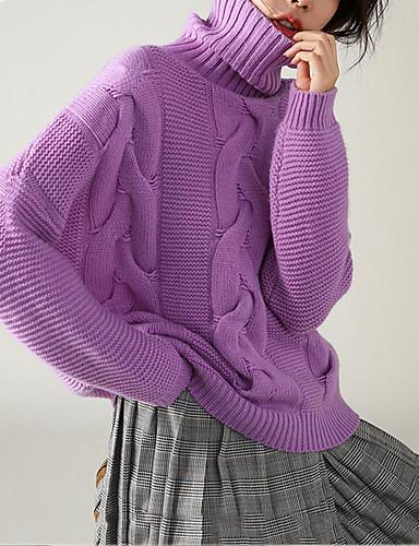 billige Dametopper-Dame Ensfarget Langermet Løstsittende Pullover Genserjumper, Rullekrage Hvit / Lilla / Rosa M / L