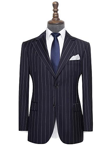 preiswerte Anzüge für Herren-marineblauer Anzug aus Nadelstreifenwolle