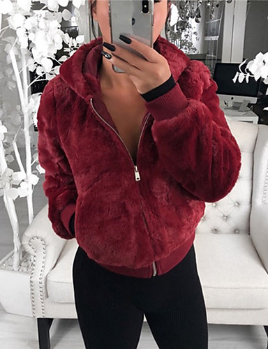 Women's Holiday / Going out Basic Fall & Winter Short Coat, Solid Colored Turndown Long Sleeve Polyester Black / Wine / White