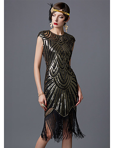 cheap Cosplay & Costumes-The Great Gatsby Charleston 1920s Flapper Dress Women's Sequins Costume Black / Golden+Black / White Vintage Cosplay Party Homecoming Prom Sleeveless