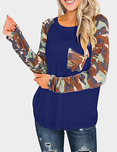 billige Dametopper-T-skjorte Dame - Kamuflasje, Lapper Svart