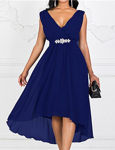 levne Maxi šaty-Dámské Tek Renk A Line Šaty - Jednobarevné Maxi Do V / Větší velikosti