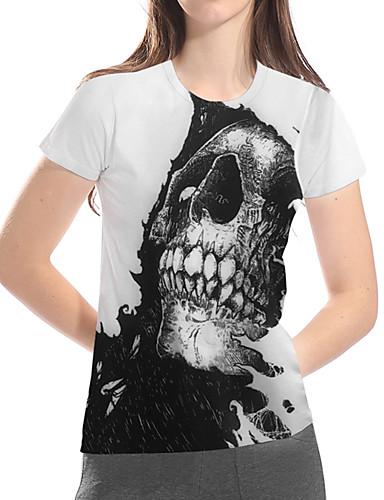 billige Dametopper-T-skjorte Dame - 3D / Grafisk / Hodeskaller, Trykt mønster Grunnleggende / overdrevet Hvit