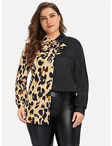 billige Dametopper-Skjorte Dame - Leopard, Lapper / Trykt mønster Forretning / Grunnleggende Svart