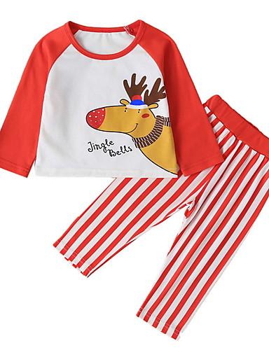 preiswerte Baby & Kinder-Baby Mädchen Street Schick Gestreift / Weihnachten Langarm Standard Baumwolle Kleidungs Set Rote