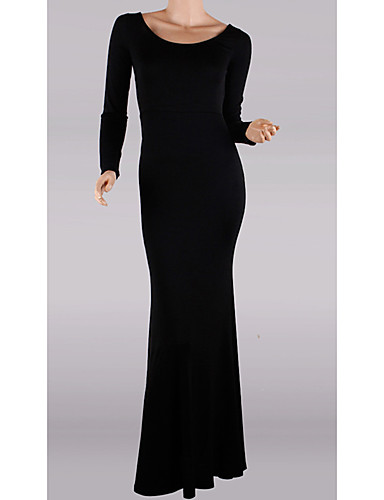 levne Maxi šaty-Dámské Základní Pouzdro Šaty - Jednobarevné, Volná záda Maxi