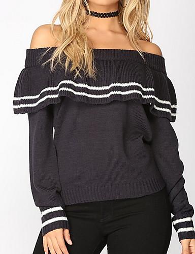 billige Dametopper-Dame Stripet Langermet Pullover Genserjumper, Løse skuldre Svart S / M / L