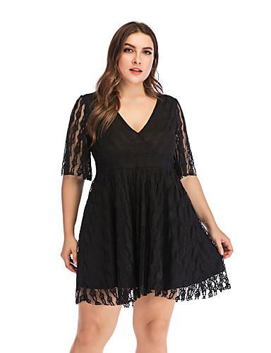 levne Šaty velkých velikostí-Dámské Základní Elegantní Swing Šaty - Jednobarevné Nad kolena